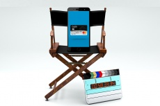 a phone sits in a director's chair